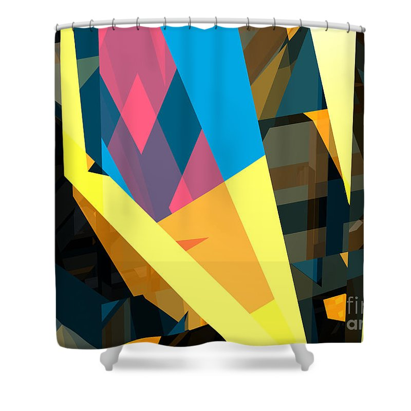 Abstract Shower Curtain featuring the digital art Abstract Sine L 16 by Russell Kightley
