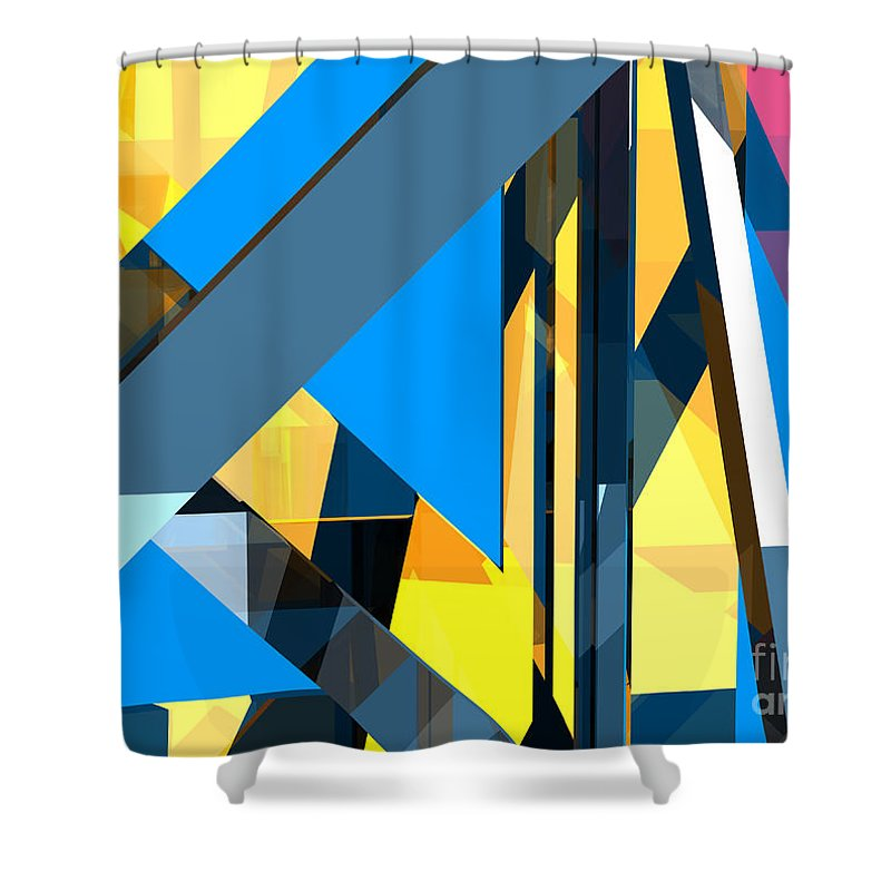 Abstract Shower Curtain featuring the digital art Abstract Sine L 18 by Russell Kightley