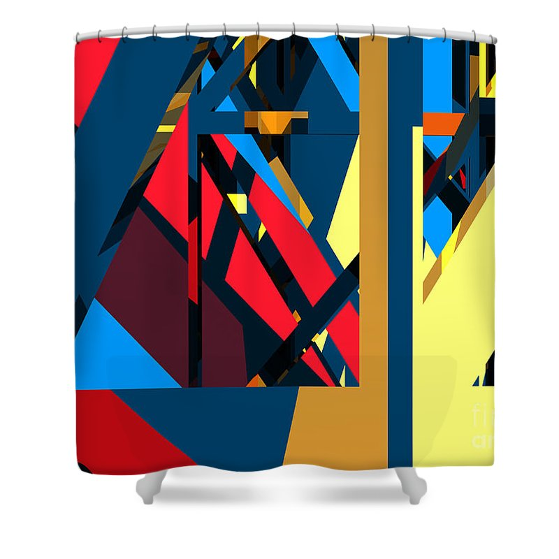 Abstract Shower Curtain featuring the digital art Abstract Sine L 19 by Russell Kightley