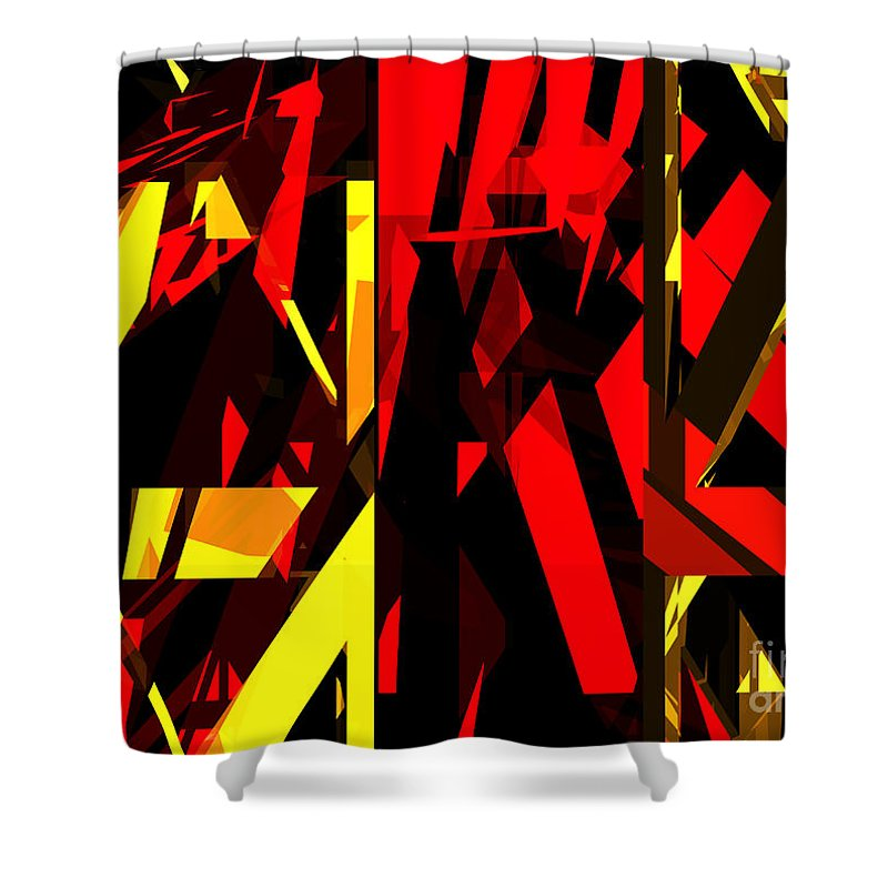Abstract Shower Curtain featuring the digital art Abstract Sine L 20 by Russell Kightley