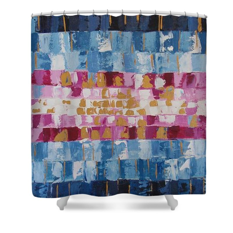 Oil Painting Shower Curtain featuring the painting Abstract Sunset I by Tatjana Popovska