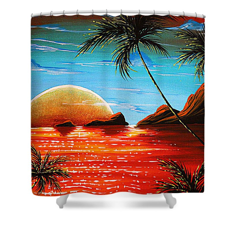 Abstract Shower Curtain featuring the painting Abstract Surreal Tropical Coastal Art Original Painting Tropical Fusion By Madart by Megan Duncanson
