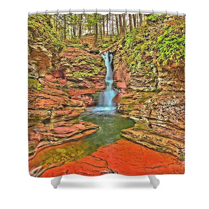 Ricketts Glen Shower Curtain featuring the photograph Adams Falls by Adam Jewell