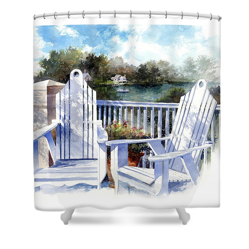 Chair Shower Curtain featuring the painting Adirondack Chairs Too by Andrew King