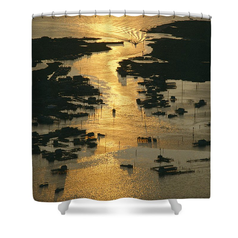 Geography Shower Curtain featuring the photograph Aerial Shot, Tangier Island, Chesapeake by Skip Brown