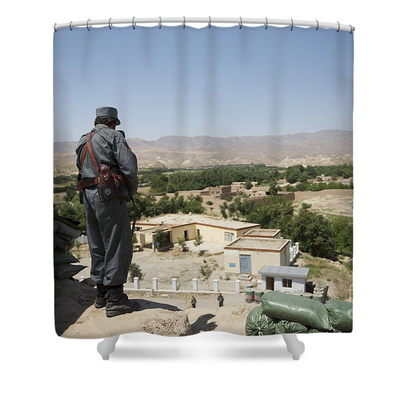 Afghanistan Shower Curtain featuring the photograph Afghan Policeman Standing by Terry Moore