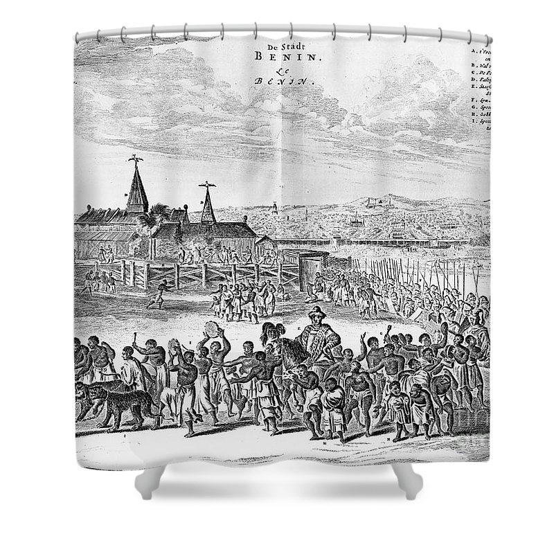 1686 Shower Curtain featuring the photograph Africa: Benin City, 1686 by Granger