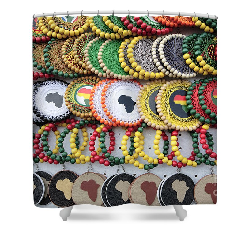 Africa Shower Curtain featuring the photograph African Beaded Earrings by Neil Overy