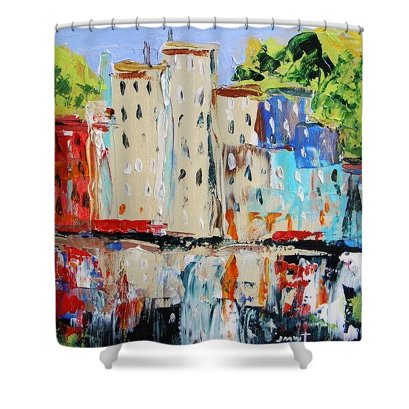 Acrylic Shower Curtain featuring the painting After Hours-reflection by John Williams