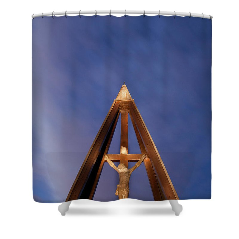 Jesus Shower Curtain featuring the photograph Against The Sky by Ian Middleton