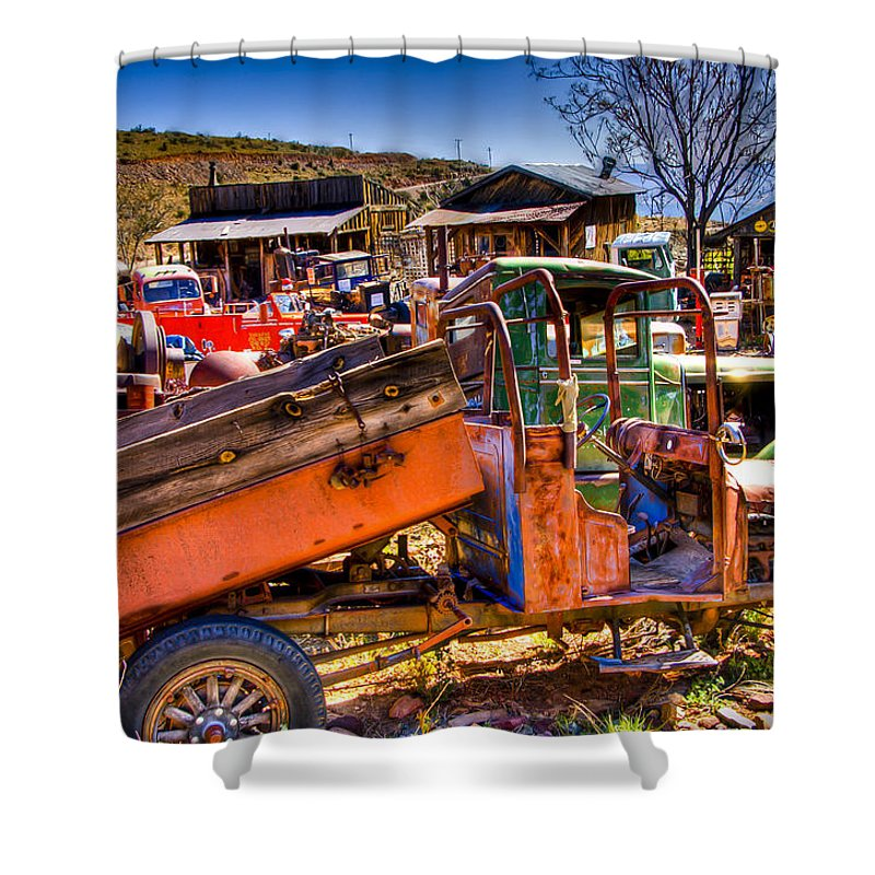 Old Truck Shower Curtain featuring the photograph Aging Dump Truck by Jon Berghoff