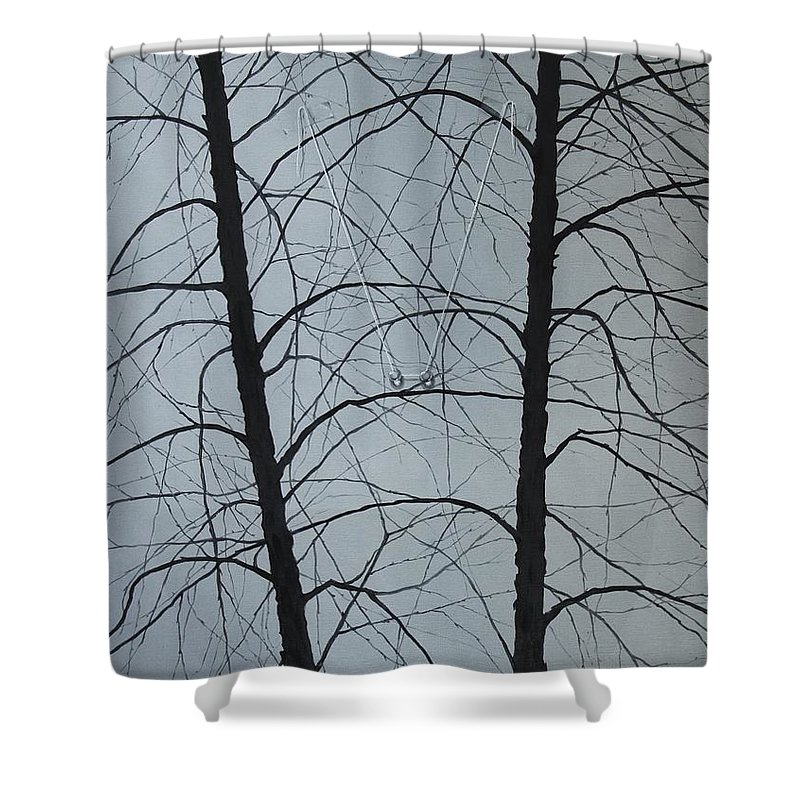 Winter Trees Shower Curtain featuring the painting Aging by Roger Calle