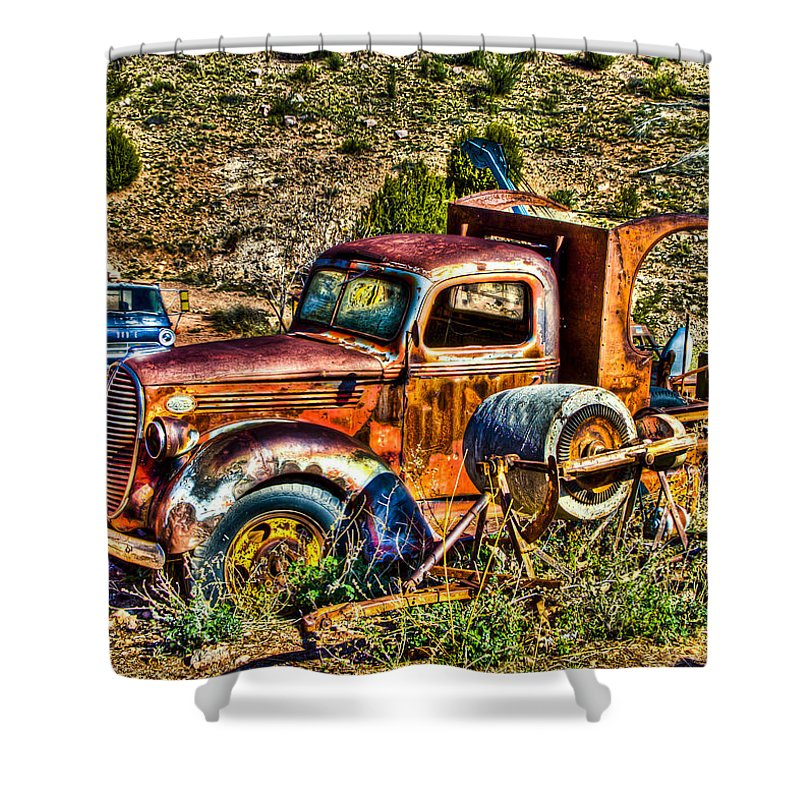 Old Truck Shower Curtain featuring the photograph Aging Truck by Jon Berghoff
