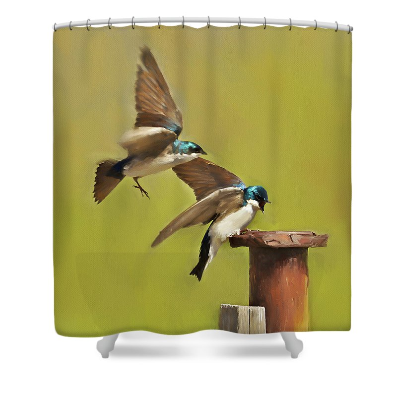 Canada Shower Curtain featuring the digital art Air Traffic Control Required by Colette Panaioti