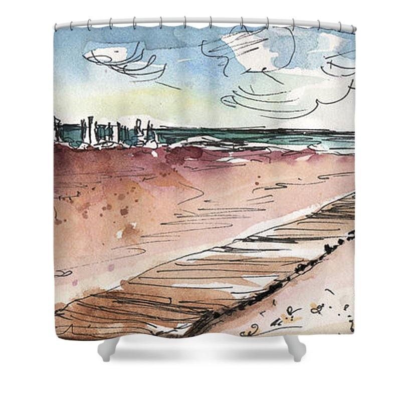 Travel Shower Curtain featuring the painting Albufera De Valencia 01 by Miki De Goodaboom