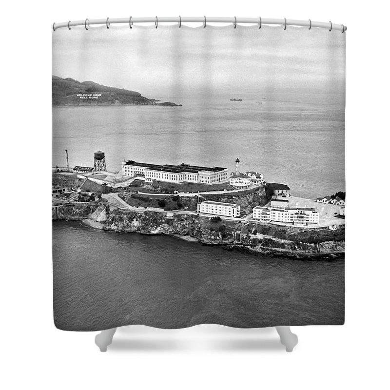 1940's Shower Curtain featuring the photograph Alcatraz Island And Prison by Underwood Archives