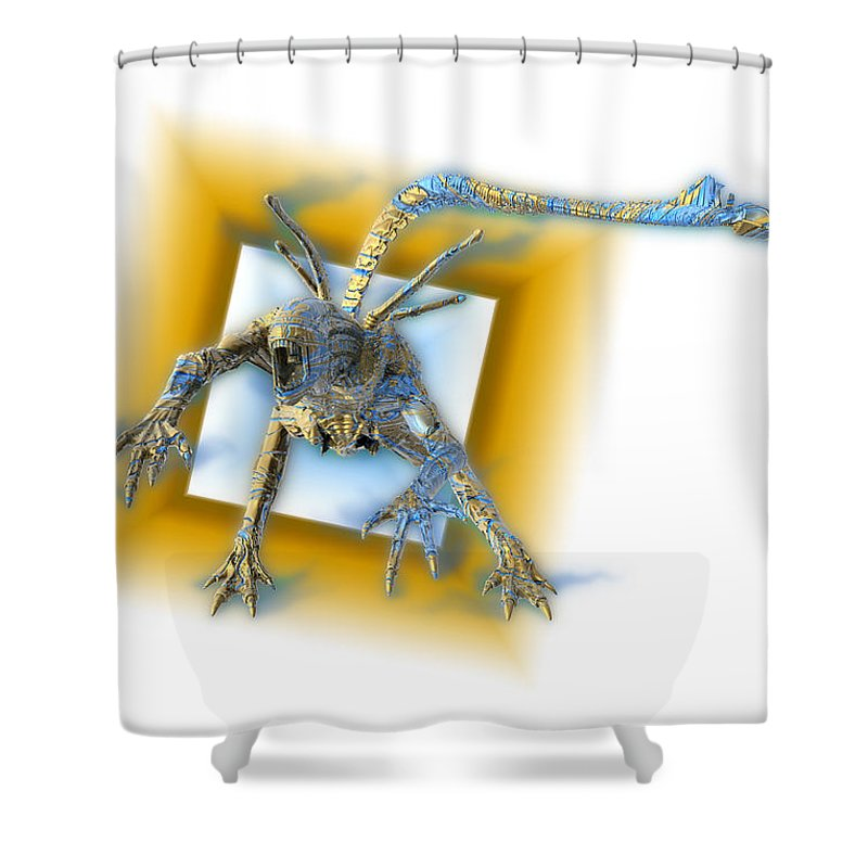 Alien Shower Curtain featuring the digital art Aleen by Nandor Volovo