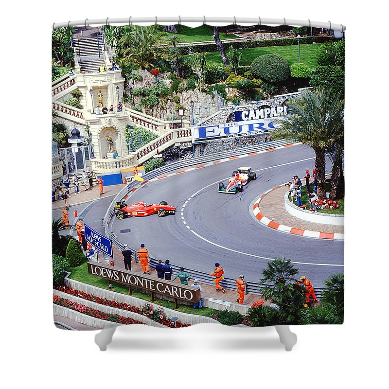 Erik Comas Shower Curtain featuring the photograph Alesi Spin At Loews Hairpin by John Bowers