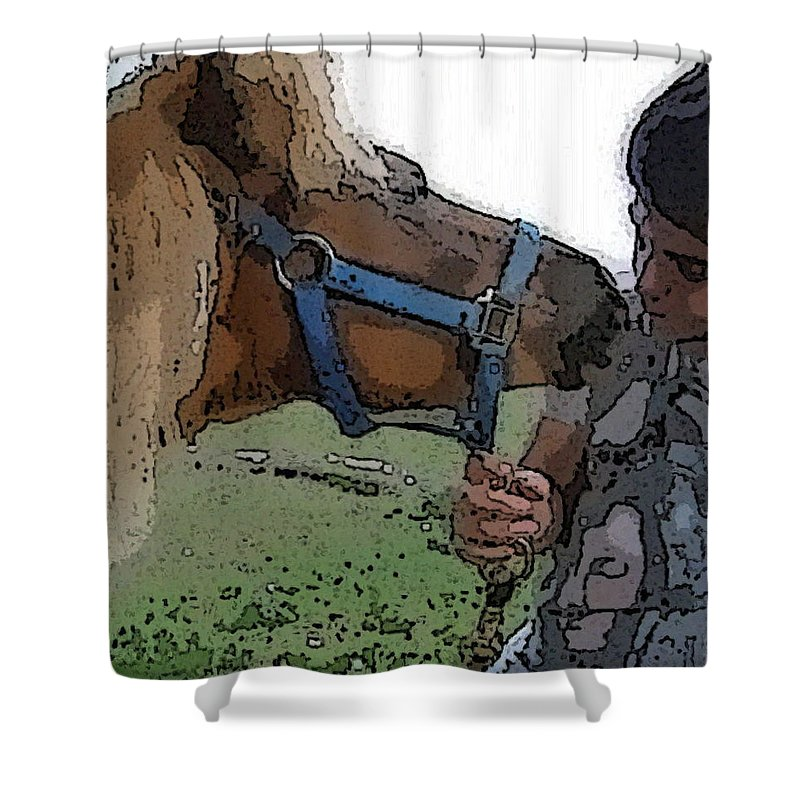 Miniature Horse Shower Curtain featuring the photograph Alex And Cass2011 by Amber Stubbs
