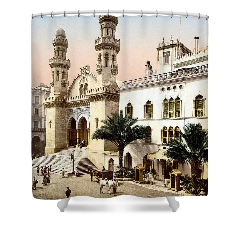 1899 Shower Curtain featuring the photograph Algiers Cathedral C1899 by Granger