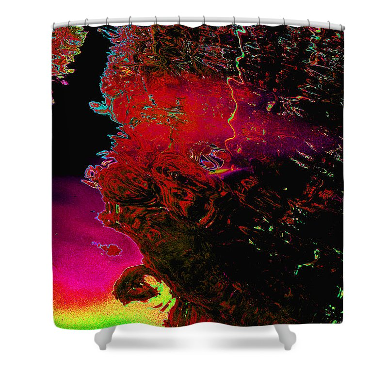 Abstract Shower Curtain featuring the digital art Alien In Thought by Kimmary MacLean