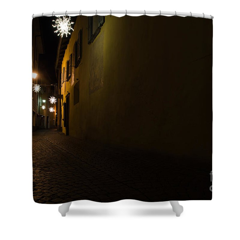 Alley Shower Curtain featuring the photograph Alley In Night With Lights by Mats Silvan