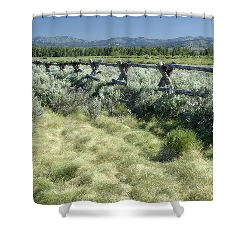 Grand Teton National Park Shower Curtain featuring the photograph Along The Fence by Sandra Bronstein