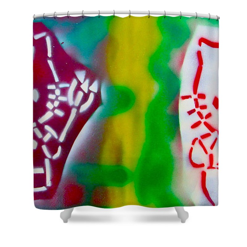 Stencil Paintings Shower Curtain featuring the painting Alternative Hello Kitty by Tony B Conscious