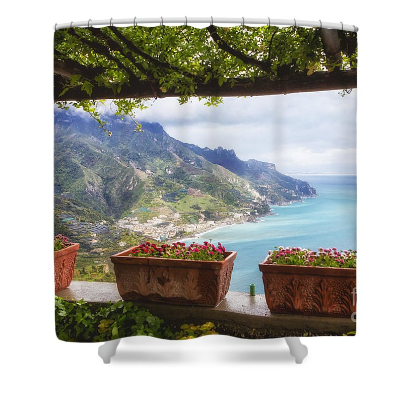 Landscape Shower Curtain featuring the photograph Amalfi Coast Vista From Under A Trellis by George Oze