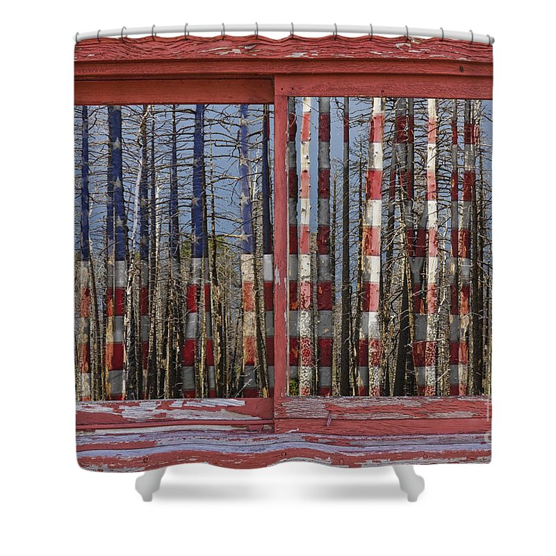 'window Frame Art' Shower Curtain featuring the photograph America Still Beautiful Red Picture Window Frame Photo Art View by James BO Insogna