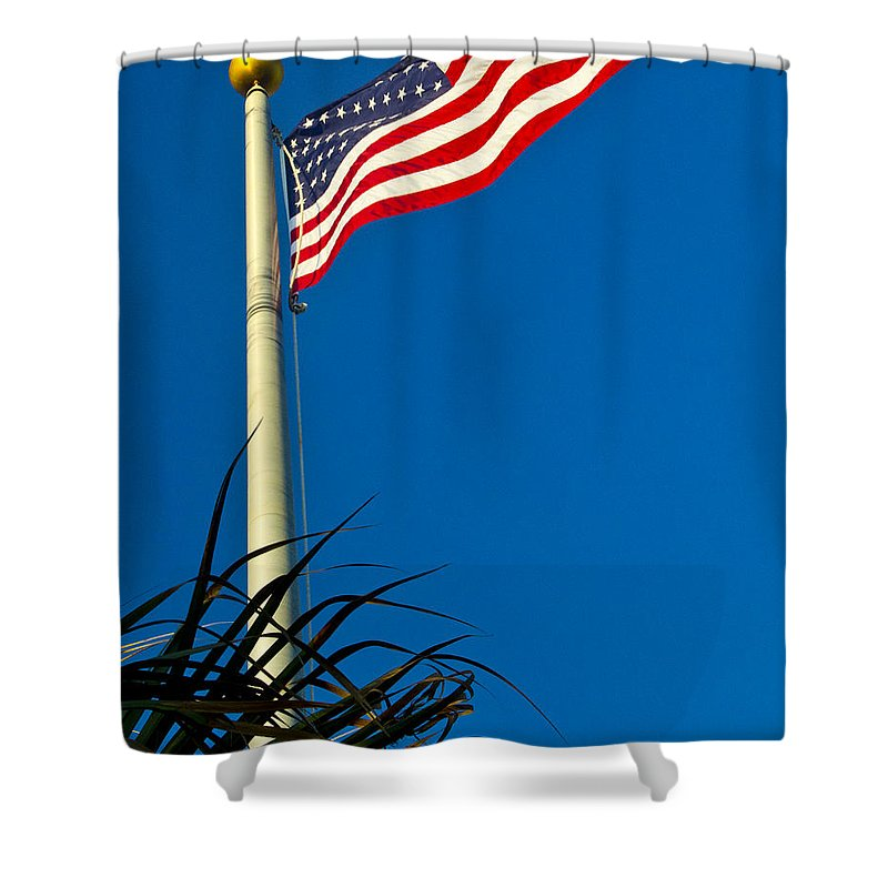 Florida Shower Curtain featuring the photograph American Flag Flying Over The Palms by Roger Wedegis