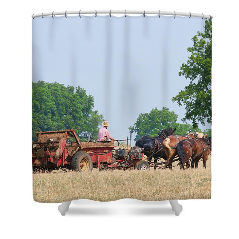 Amish Manure Spreader Shower Curtain featuring the photograph Amish Manure Spreader by David Arment