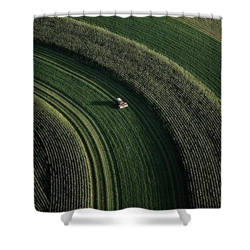 Aerial Views Shower Curtain featuring the photograph An Aerial View Of A Tractor On Curved by Paul Chesley
