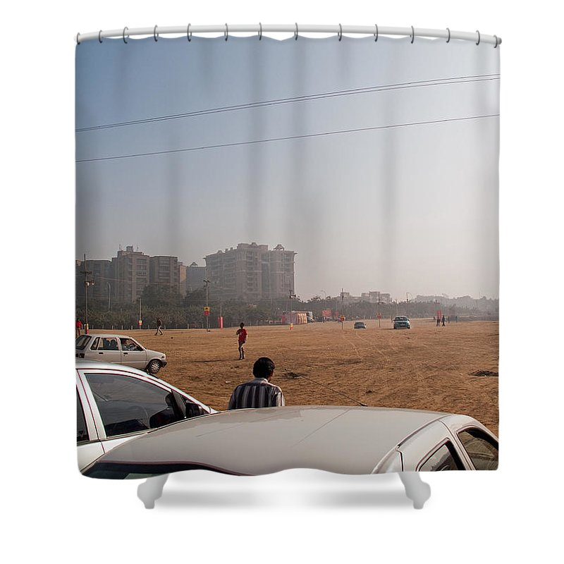 Open Shower Curtain featuring the photograph An Almost Empty Parking Lot At Surajkand Fair In India by Ashish Agarwal