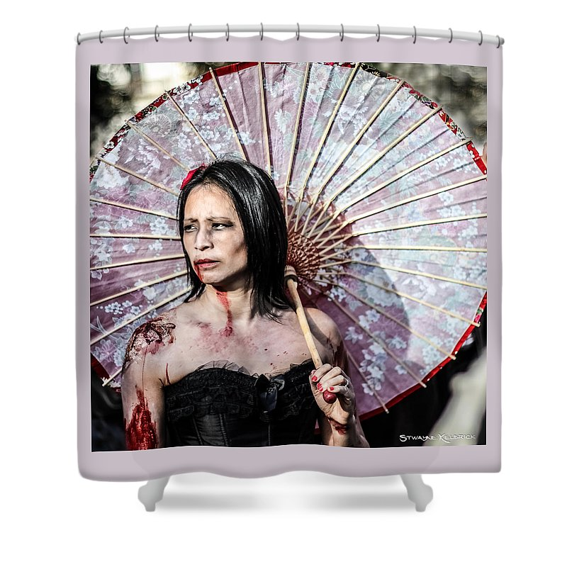 Halloween Shower Curtain featuring the photograph An Asian Zombie by Stwayne Keubrick