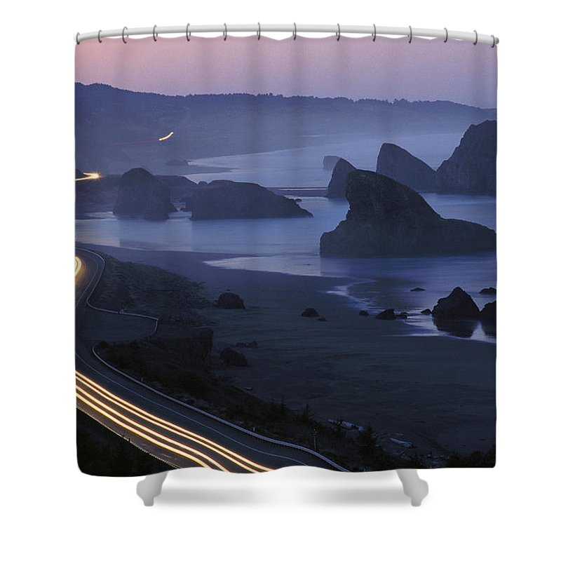 Highway 101 Shower Curtain featuring the photograph An Evening View Of Highway 101 South by Phil Schermeister