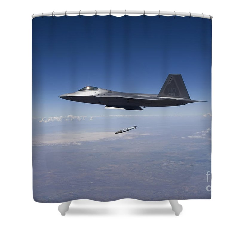 F 22 Shower Curtain Featuring The Photograph An F 22 Raptor Releases A Gbu