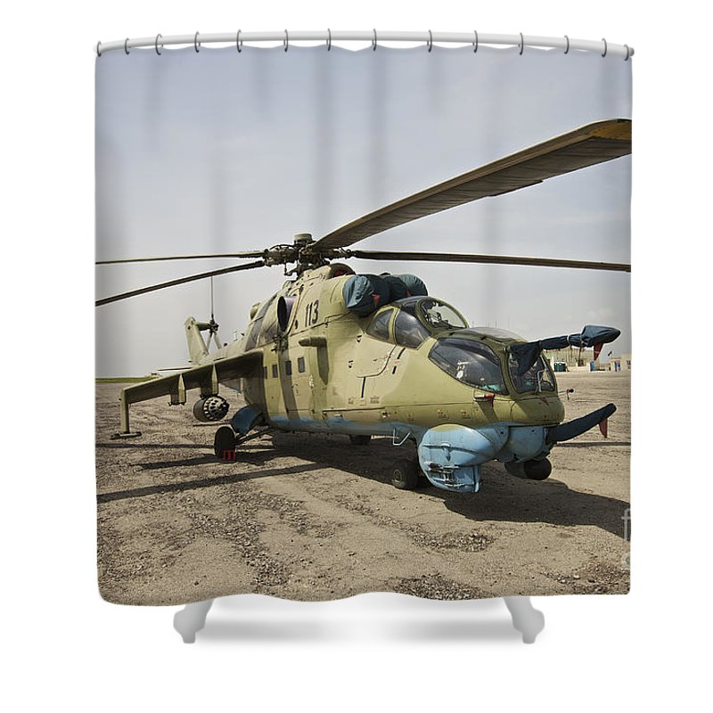 Camouflage Shower Curtain featuring the photograph An Mi-35 Attack Helicopter At Kunduz by Terry Moore
