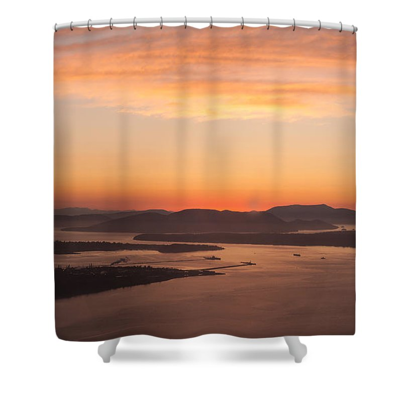 San Juan Islands Shower Curtain featuring the photograph Anacortes Islands Sunset by Mike Reid