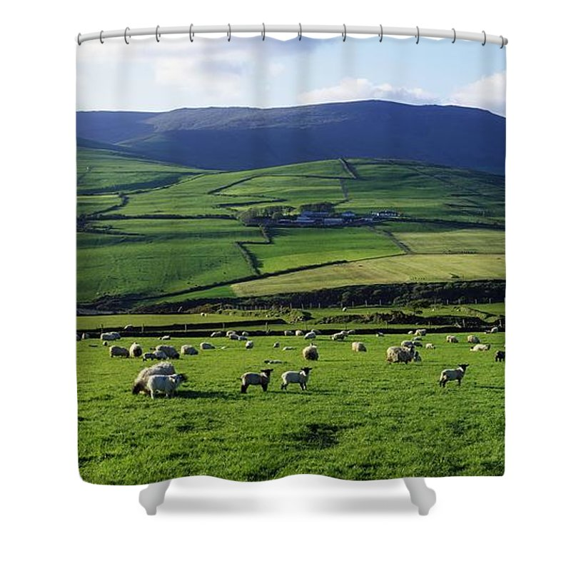 Anascaul Shower Curtain featuring the photograph Anascual, Dingle Peninsula, Co Kerry by The Irish Image Collection