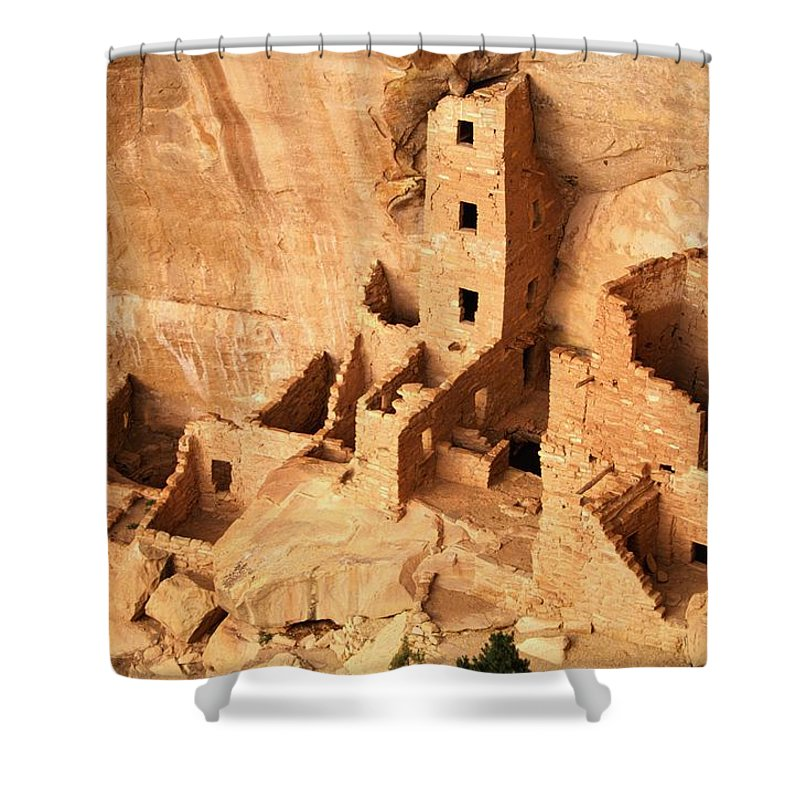 Mesa Verde National Park Shower Curtain featuring the photograph Ancient Anasazi Indian Cliff Dwellings by Paul Chesley
