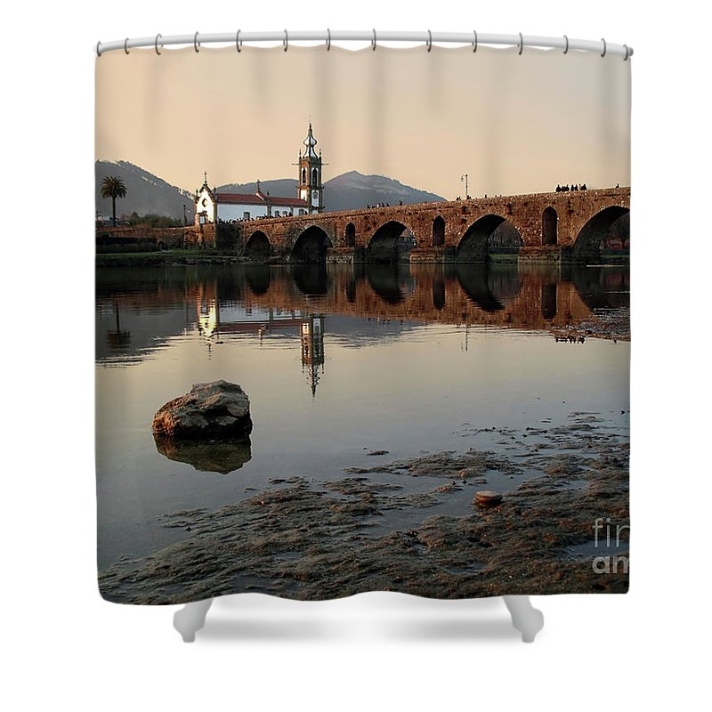 Travel Shower Curtain featuring the photograph Ancient Bridge by Carlos Caetano