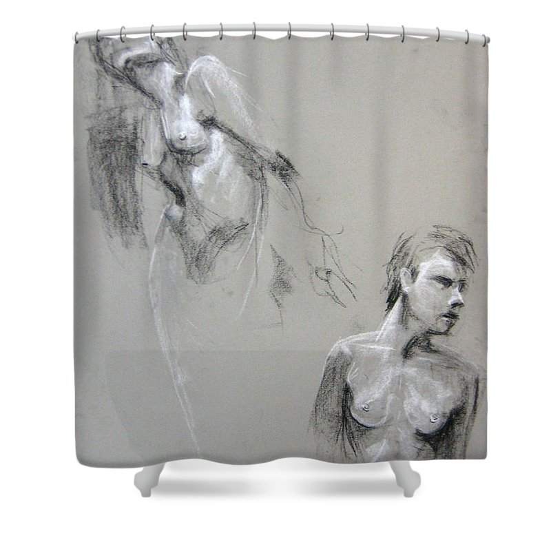 Double Shower Curtain featuring the drawing Andro Double by Gabrielle Wilson-Sealy