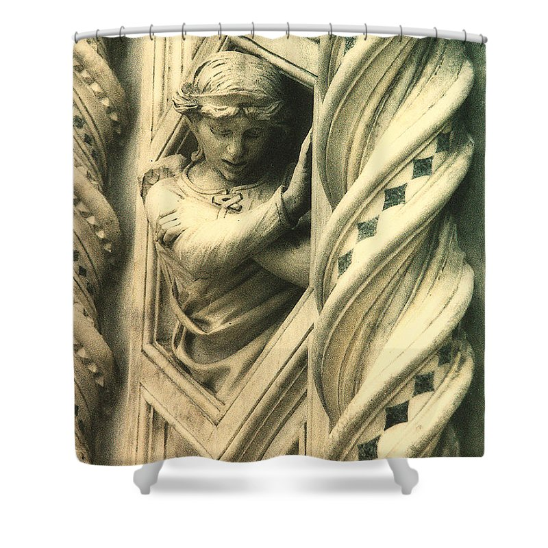 This Angel Graces The Outer Wall Of Basilica Di Santa Maria Del Fiore In Florence Italy. Shower Curtain featuring the photograph Angel Of The Basilica by Diana Haronis