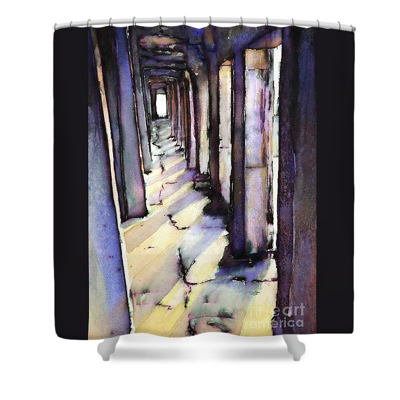 Alvaro Castagnet Shower Curtain featuring the painting Angkor Wat Corridor2 by Ryan Fox