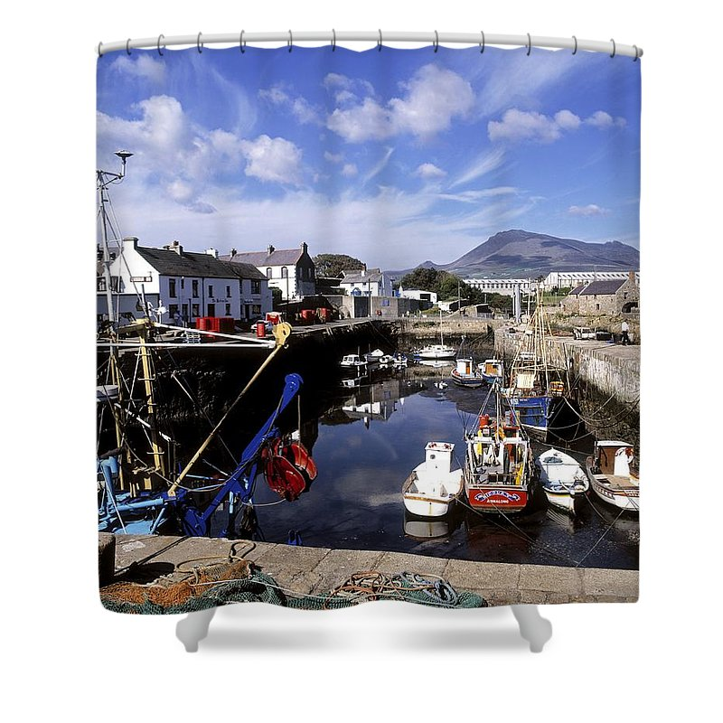 Annalong Harbour Shower Curtain featuring the photograph Annalong Harbour, Near Mountains Of by The Irish Image Collection
