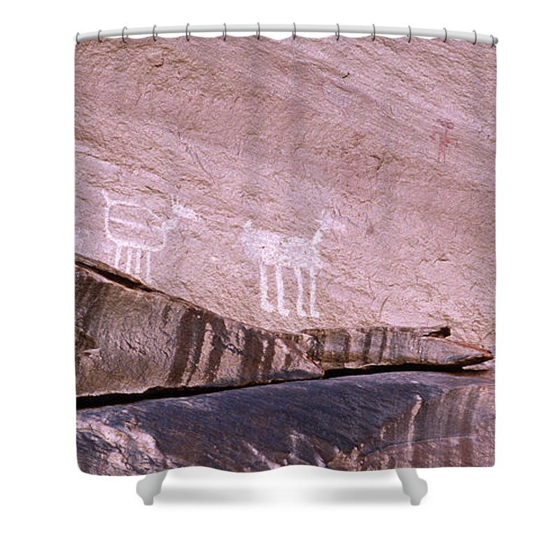 Antelope House Ruin Shower Curtain featuring the photograph Antelope House Petroglyphs by Bob Christopher