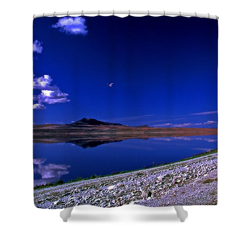 Utah Shower Curtain featuring the photograph Antelope Island by Rich Walter
