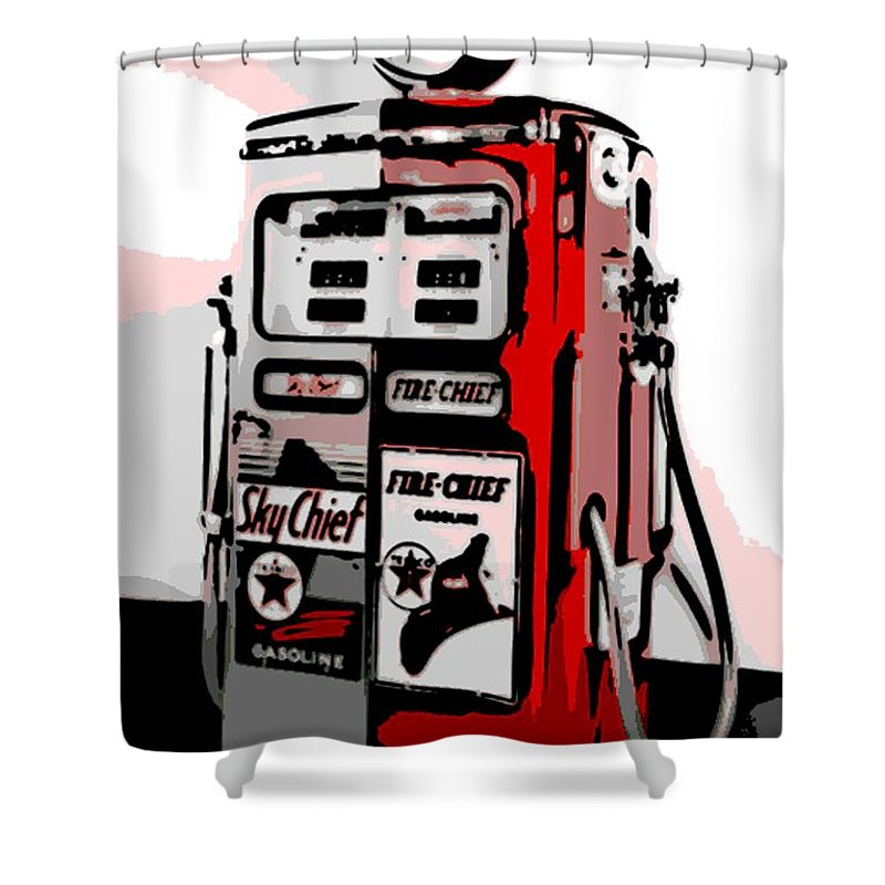Antique Shower Curtain featuring the photograph Antique Gas Pump by George Pedro