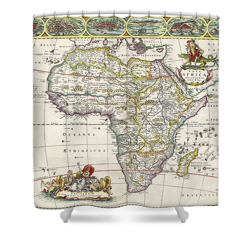antique map of africa shower curtain for sale by dutch school